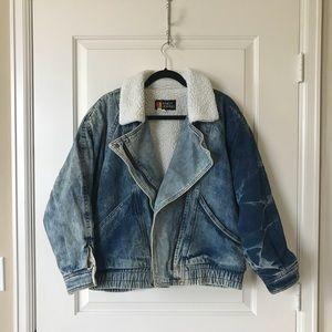 Vintage acid wash Sherpa lined denim jacket, M/L